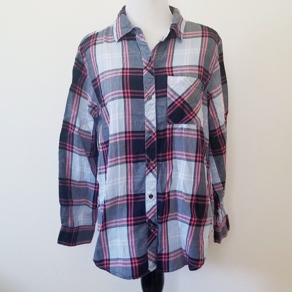 Faded Glory Tops - Faded Glory Blue and Pink Plaid Button Up